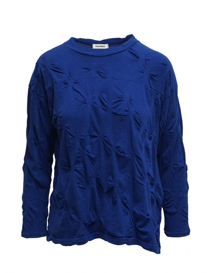 Plantation camicia blu con fiori in rilievo PL07JJ146-12 L.BLUE camicie donna online shopping