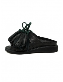 Zucca black leather sandals with tassels