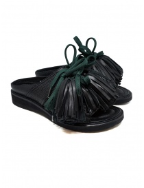 Womens shoes online: Zucca black leather sandals with tassels