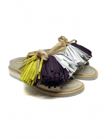 Womens shoes online: Zucca leather sandals with colored tassels