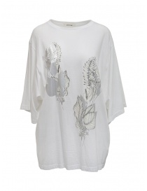 Zucca t-shirt lunga con stampa floreale argento e crema online