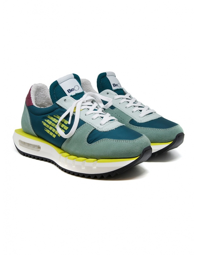 BePositive Cyber Run teal and yellow sneakers CYBER RUN S0WOCYBER01/NYL OCT mens shoes online shopping