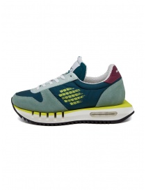 BePositive Cyber ​​Run teal and yellow sneakers