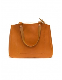 Bags online: Slow Bono bag in orange leather with linen bag
