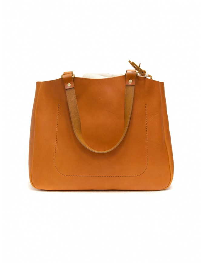 Slow Bono bag in orange leather with linen bag 4920003 BONO CAMEL bags online shopping