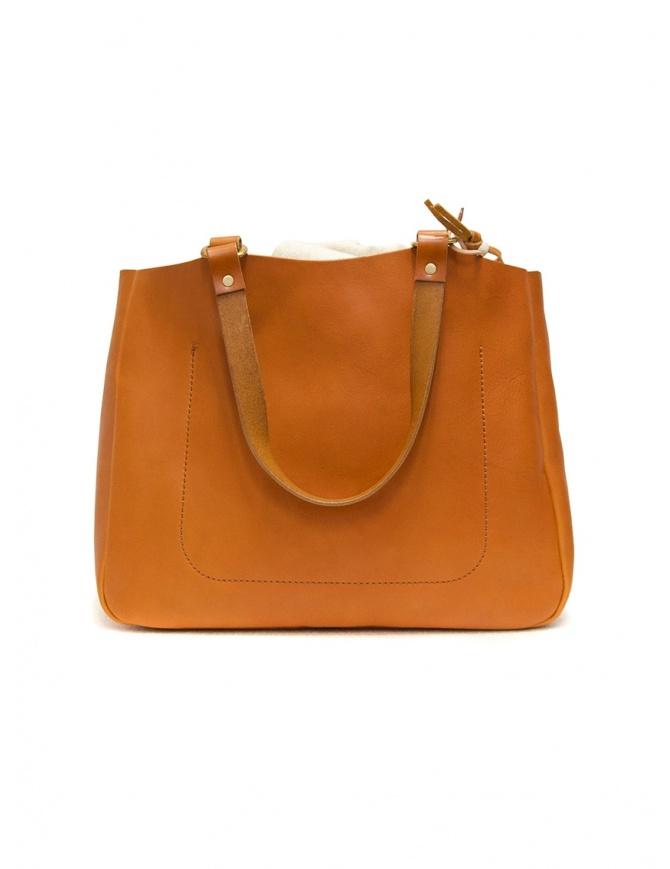 Slow borsa Bono in pelle arancione con sacca in lino 4920003 BONO CAMEL borse online shopping