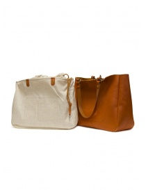 Slow Bono bag in orange leather with linen bag buy online