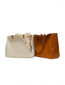 Slow borsa Bono in pelle arancione con sacca in lino