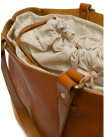 Slow Bono bag in orange leather with linen bag buy online price