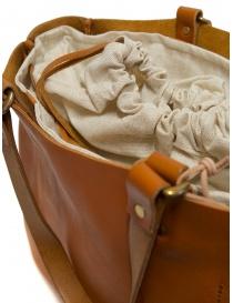 Slow borsa Bono in pelle arancione con sacca in lino acquista online prezzo