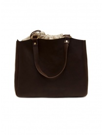 Bags online: Slow Bono tote bag in brown leather and linen