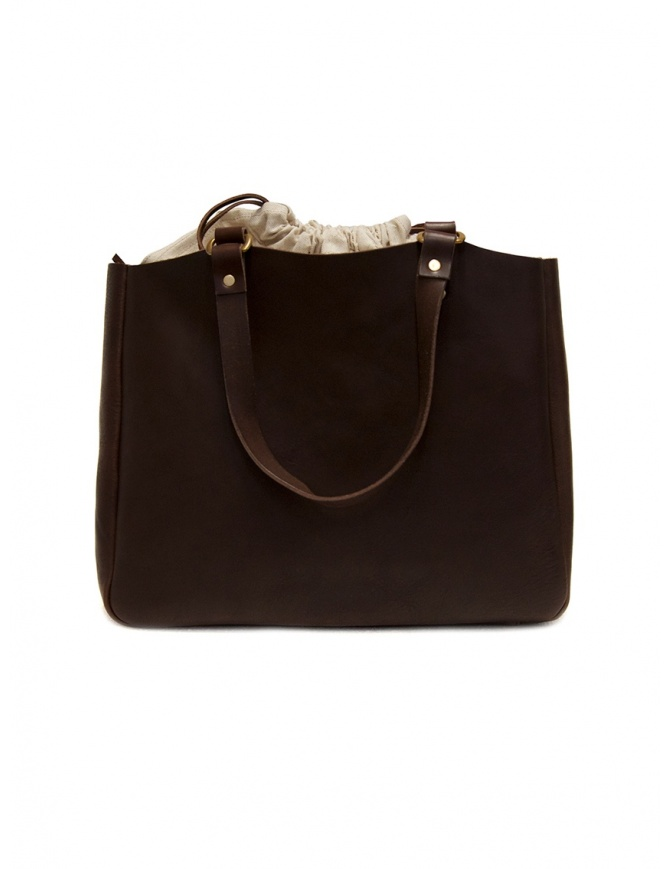 Slow Bono tote bag in brown leather and linen 4920003 BONO CHOCO bags online shopping