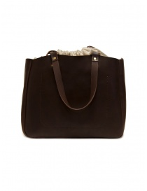 Slow Bono tote bag in brown leather and linen bags buy online