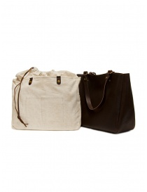 Slow Bono tote bag in brown leather and linen bags price