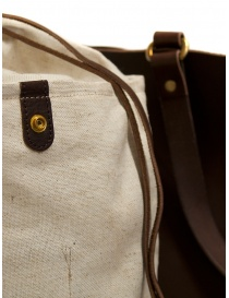 Slow Bono tote bag in brown leather and linen buy online