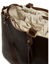 Slow Bono tote bag in brown leather and linen buy online price