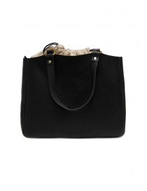 Bags online: Slow Bono bag in black leather and linen