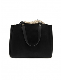 Slow Bono bag in black leather and linen bags buy online