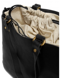 Slow Bono bag in black leather and linen buy online price