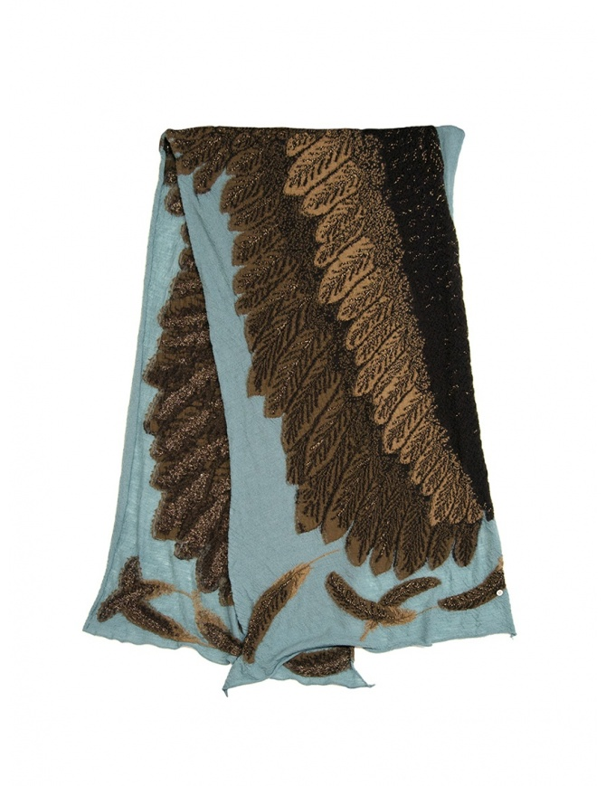 Kapital light blue scarf with brown eagle K1911XG566 SAX scarves online shopping