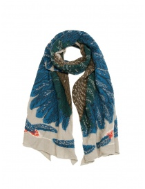 Kapital beige scarf with green and blue eagle
