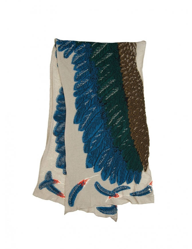 Kapital beige scarf with green and blue eagle K1909XG522 BE scarves online shopping