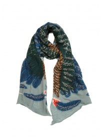Kapital light blue scarf with green and blue eagle buy online