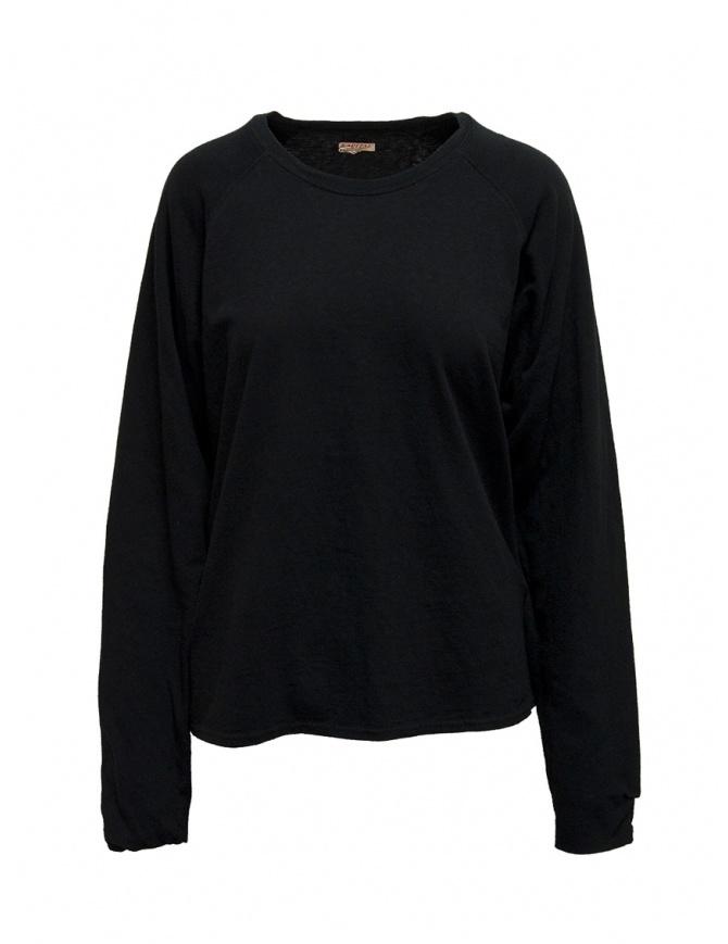 Felpa Kapital nera con smile sui gomiti EK-590 BLACK maglieria uomo online shopping