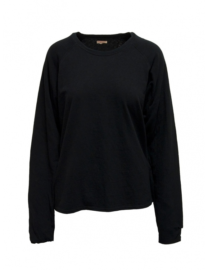 Kapital black sweatshirt with smiley elbows EK-590 BLACK mens knitwear online shopping