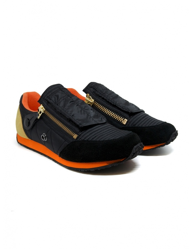 Kapital black sneaker with zippers and smiley EK-799 BLACK mens shoes online shopping