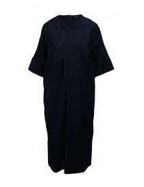 Mercibeaucoup, abito lungo blu manica a costine online