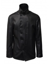 Mens jackets online: John Varvatos shiny black double-breasted jacket