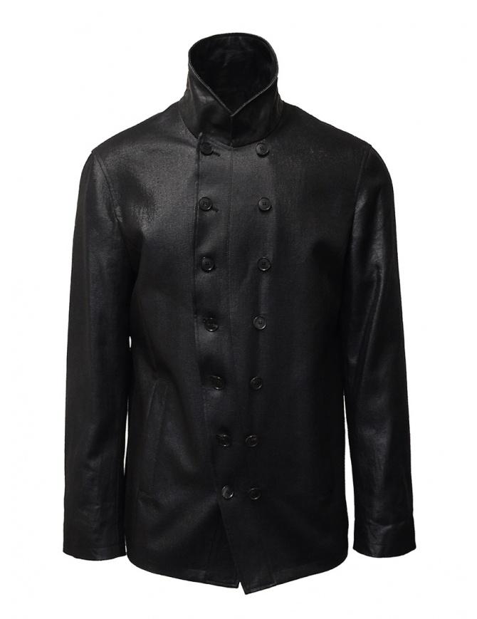 John Varvatos giacca doppiopetto nera lucida O1122W1 BSRS BLK 001 giubbini uomo online shopping