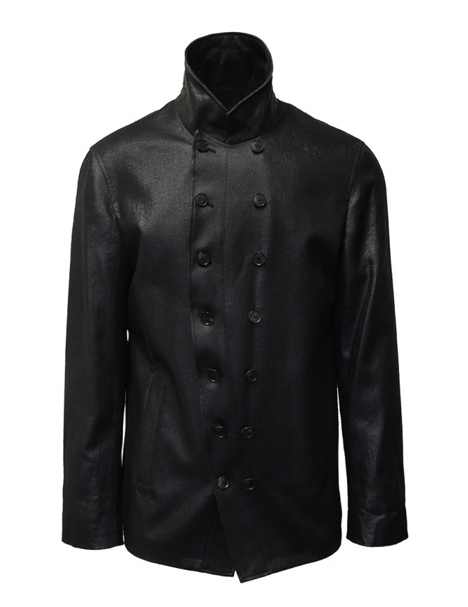 John Varvatos shiny black double-breasted jacket O1122W1 BSRS BLK 001 mens jackets online shopping