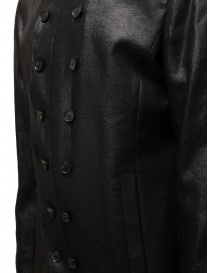 John Varvatos shiny black double-breasted jacket price