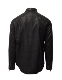 John Varvatos black rubberized shirt with zip and buttons