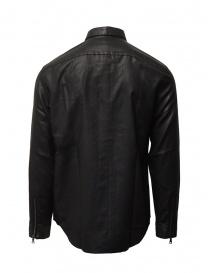 John Varvatos camicia gommata nera con cerniera e bottoni