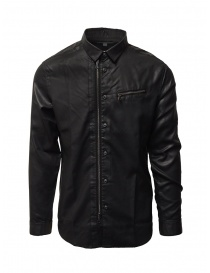 Mens shirts online: John Varvatos black rubberized shirt with zip and buttons