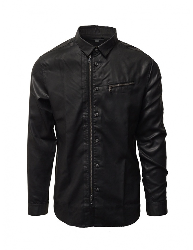 John Varvatos camicia gommata nera con cerniera e bottoni W532W1 73UJ BLK 001 camicie uomo online shopping