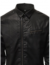 John Varvatos camicia gommata nera con cerniera e bottoni prezzo