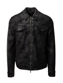 Mens jackets online: John Varvatos black trucker jacket