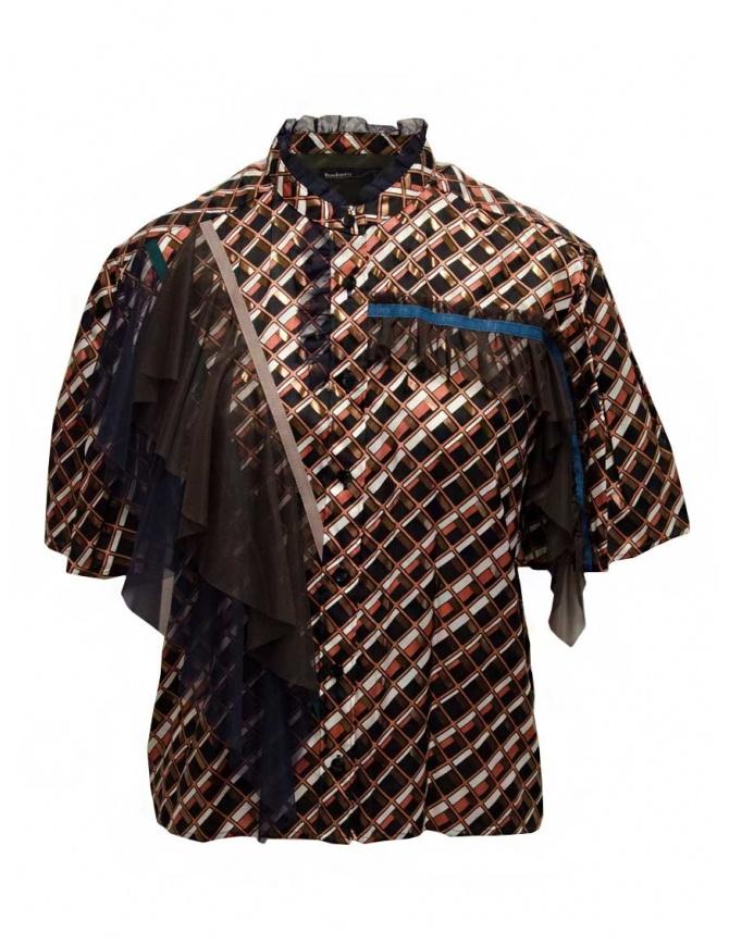 Kolor metallic printed shirt with ruffles 20SCL-B04124 BROWN womens shirts online shopping