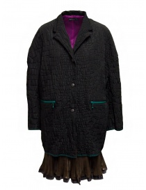 Womens coats online: Kolor black crocodile effect coat