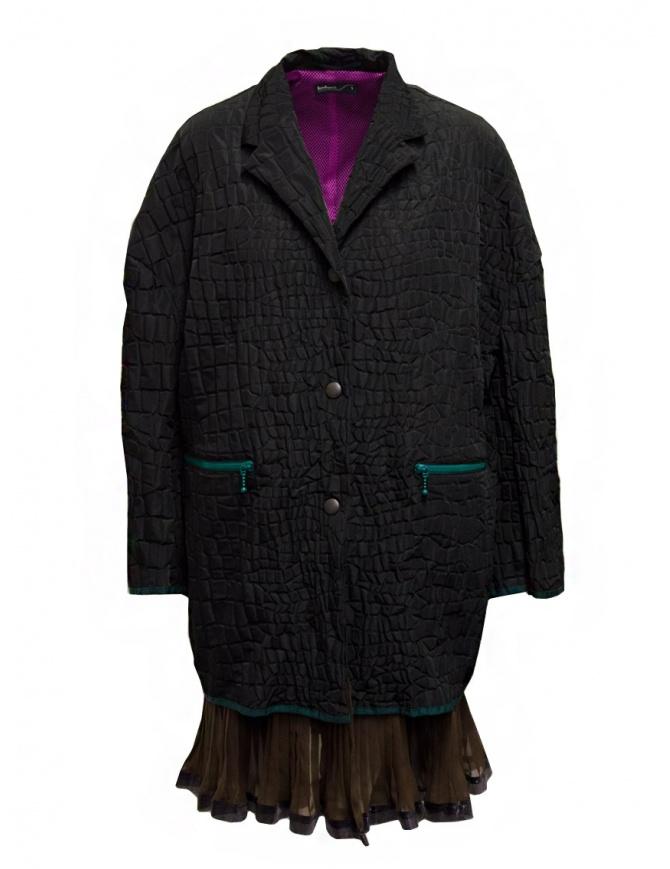 Kolor cappotto nero effetto coccodrillo 20SCL-C01106 BLACK cappotti donna online shopping