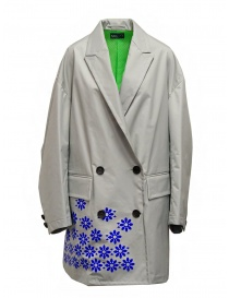 Womens coats online: Kolor gray nylon coat with blue flowers