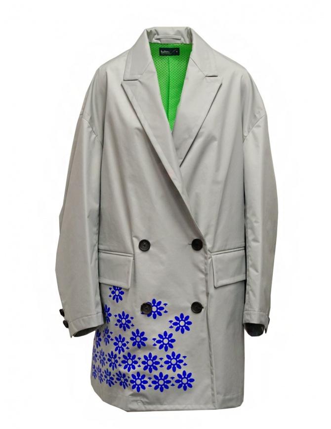 Kolor cappotto grigio in nylon con fiori blu 20SCL-C05101 GRAY cappotti donna online shopping