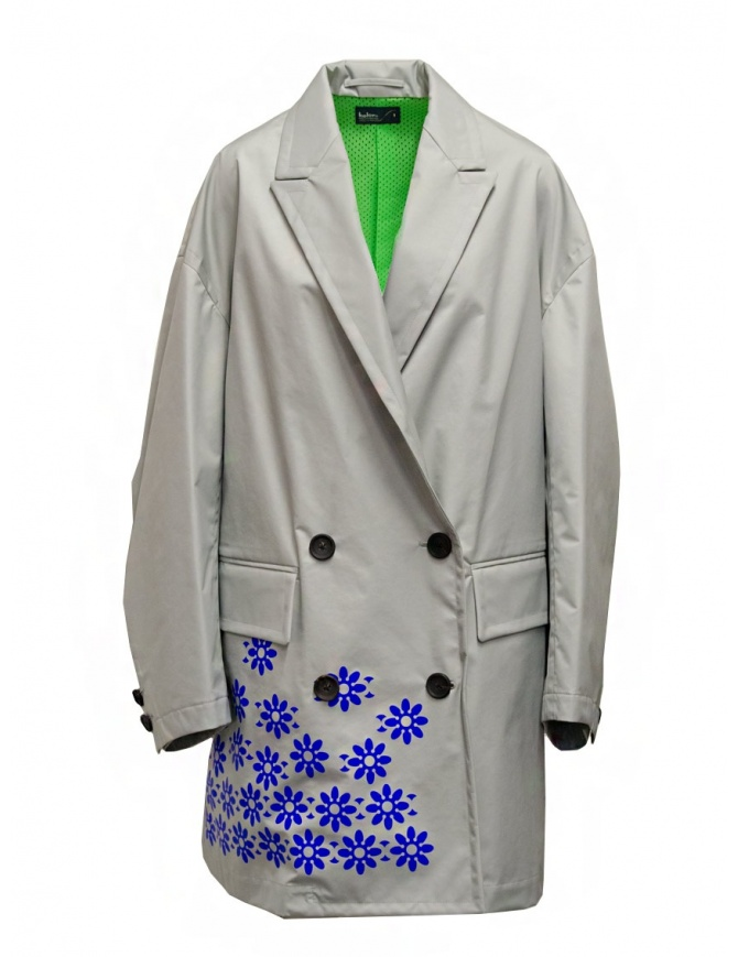 Kolor gray nylon coat with blue flowers 20SCL-C05101 GRAY womens coats online shopping