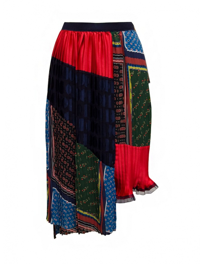 Kolor pleated patchwork skirt 20SCL-S08129 DARK TONE womens skirts online shopping