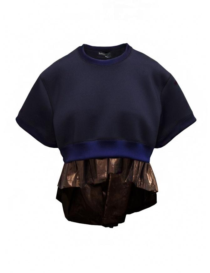 Kolor short sweatshirt with metallic ruffle 20SCL-T04203 NAVY womens knitwear online shopping