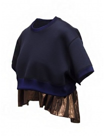 Kolor short sweatshirt with metallic ruffle